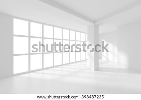 Modern Empty Room. White Interior Background. Modern Interior Design with Window and Column - stock photo
