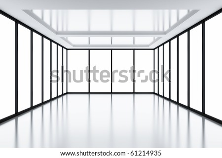 Modern empty room with light from windows - stock photo
