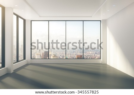 Modern empty room with windows in floor and city view 3D Render - stock photo