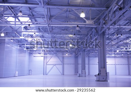 Modern empty storehouse - stock photo