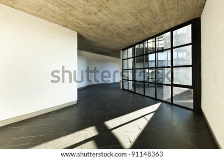 modern empty villa, large window - stock photo