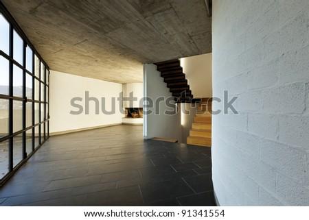 modern empty villa, large window, background stairs - stock photo