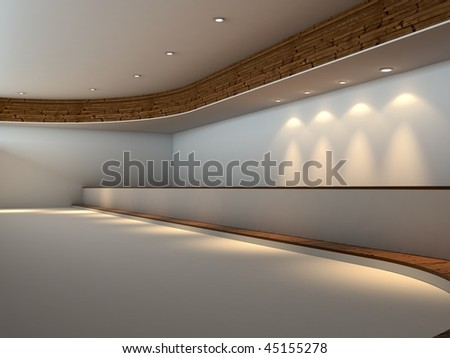 Modern empty white interior with wood and lights - stock photo