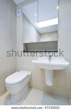 Modern en-suite bathroom detail - stock photo