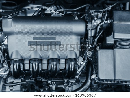 modern engine of new car - stock photo
