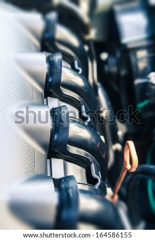 modern engine of the new car - stock photo