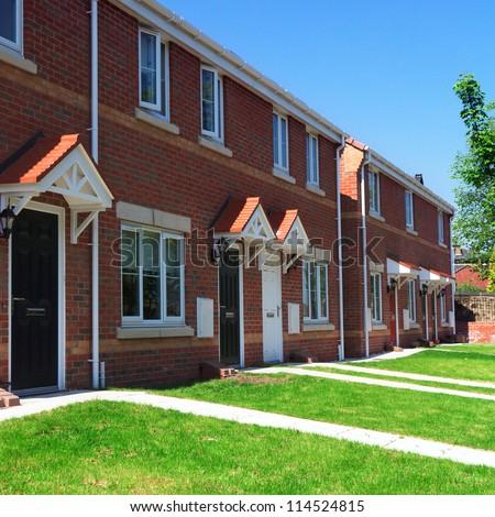 Modern english brick houses - stock photo