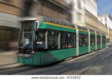 Modern environment-friendly tram in Helsinki, Finland
