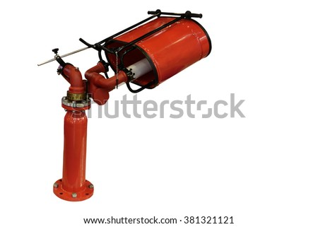 Modern equipment for fire fighting/Modern fire-fighting equipment allows you to effectively extinguish a fire of any complexity. Horizontally. Isolated on a white background.