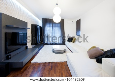 Modern equipped living room - stock photo