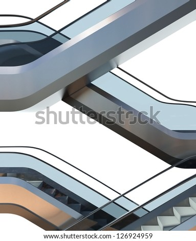 Modern escalators stairs in office building, background - stock photo