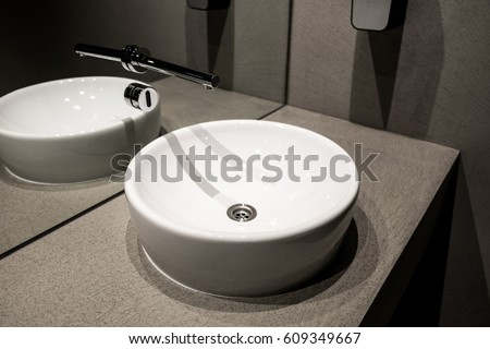Modern European Ceramic Sink Washstands With Photocells Luxury Public Toilet Wash Basins