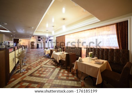 modern european restaurant with nice and bright interior