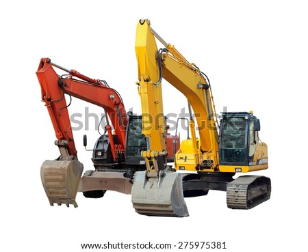 modern excavator isolated on the white background - stock photo