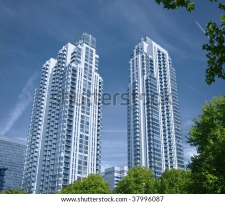 Modern executive flats and offices at a green belt area, - stock photo