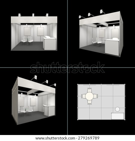 modern exhibition booth 12sq.m. with blank frieze and blank posters isolated on black - stock photo