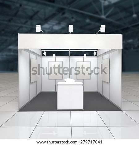 modern exhibition stand 12sq.m. with blank frieze, reception counter and blank posters - stock photo