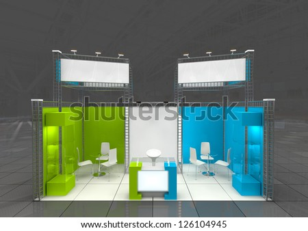 modern exhibition stand with blank banners - stock photo