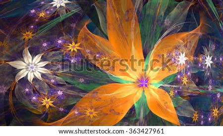 Modern exotic high resolution flower background with large wavy plastic flowers with natural looking 3D leaves and a field of smaller ones,all in glowing orange,green,pink,purple - stock photo