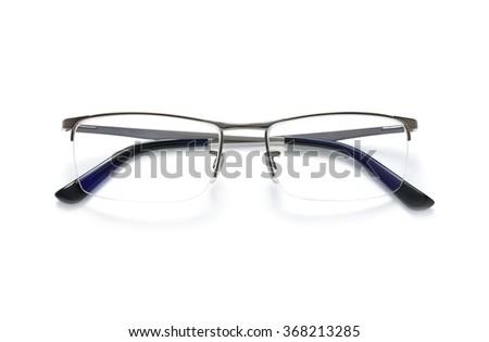 Modern eyeglasses isolated on white background - stock photo