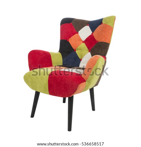 Modern Fabric Colorful Armchair With Wood Legs Isolated On White    Patchwork Pattern Chair