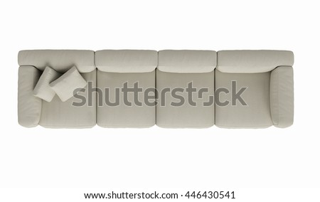 Modern fabric sofa  , top view on white background , 3D render - stock photo