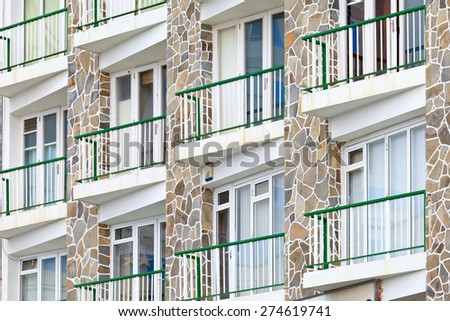Modern facade in Puerto de la Cruz, Tenerife, Canary Islands, Spain. - stock photo