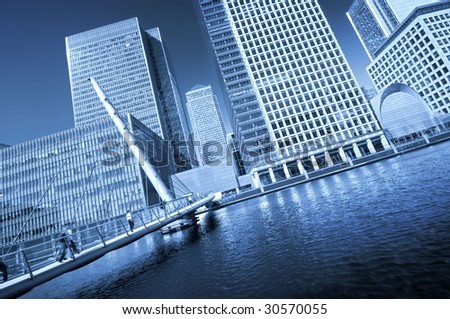Modern face of London. A dinamic angle view of Skyscrapers of Canary Wharf. This view including: Morgan Stanley, Canary Wharf Tower, One Churchill Place(Barclays). - stock photo