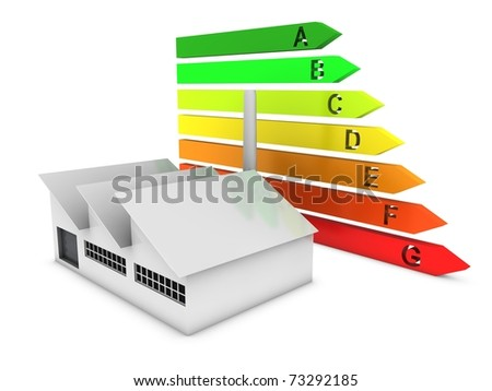 modern factory with energy chart - stock photo