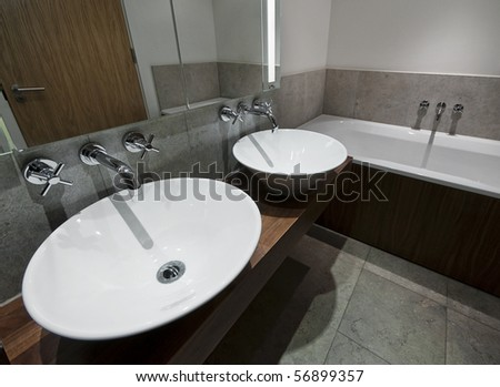 Modern Family Size Bathroom With Double Hand Wash Basin