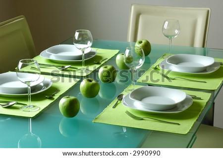 Modern fancy table setting for four & Modern Fancy Table Setting Four Stock Photo 2990990 - Shutterstock