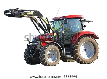 Modern farm tractor on a white background, Isolated, with a Clipping Path.