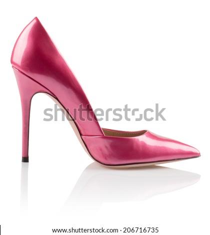Modern fashionable pink women shoe shot in studio - stock photo