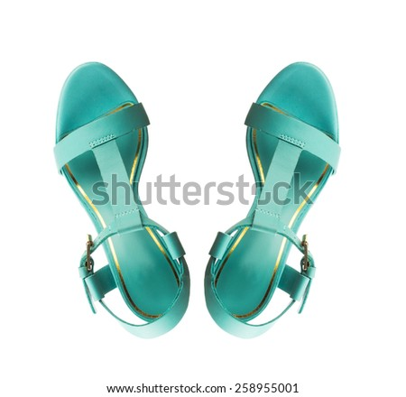 Modern fashionable women shoe shot in studio view from above - stock photo
