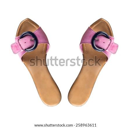 Modern fashionable women shoe shot in studio view from above - stock photo