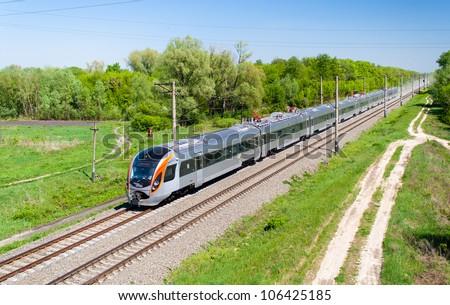 Modern fast passenger train in Ukraine - stock photo