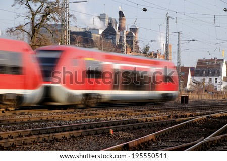Modern Fast Train in Motion - stock photo
