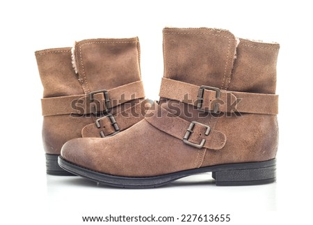 Modern female ankle boots on a white background