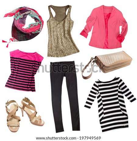 Modern female clothes isolated on white. Collage woman clothing and accessories. - stock photo