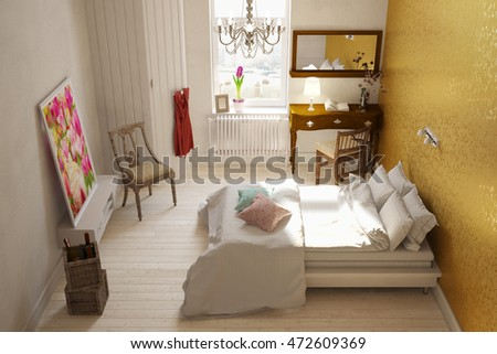 Modern female hotel room with double bed and a desk (3D Rendering)