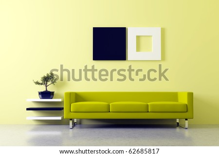 Modern Fengshui interior with sofa - stock photo