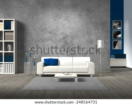 modern fictitious living room with white sofa and copy space for your own image.  - stock photo