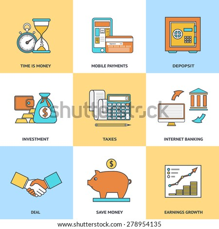 Modern financial line icons set in flat design for web site development, mobile applications, banners, corporate brochures, book covers, layouts etc. Raster illustration - stock photo