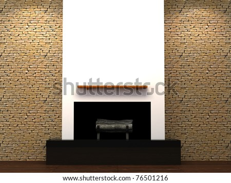 Modern fire place with stone brick wall. 3d Illustration. - stock photo
