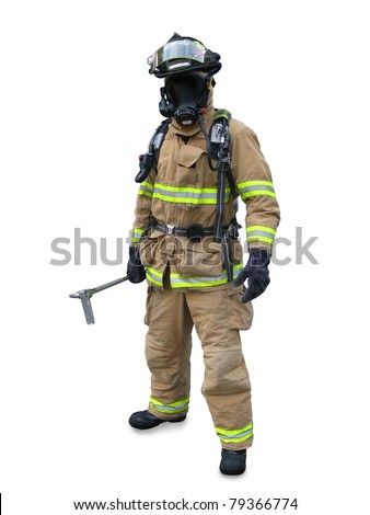 Modern firefighter in gear with equipment isolated on a white background