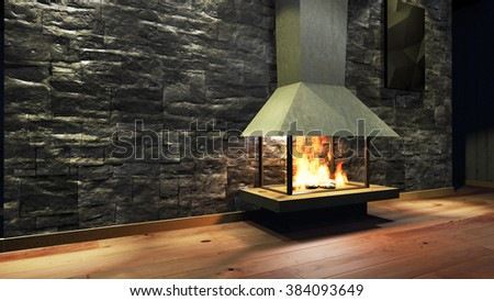 Modern Fireplace in white metal. Concrete stone wall. Soft Lights. 3D Render Image - stock photo