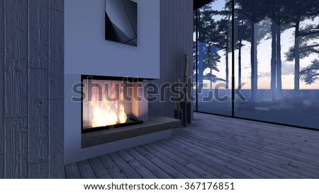Modern Fireplace in white stone. Nature view. Morning sunrise, beautiful peaceful lights. 3D Render Image - stock photo