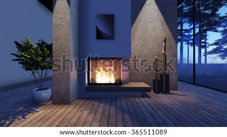 Modern Fireplace in white stone with lights. Render Image - stock photo
