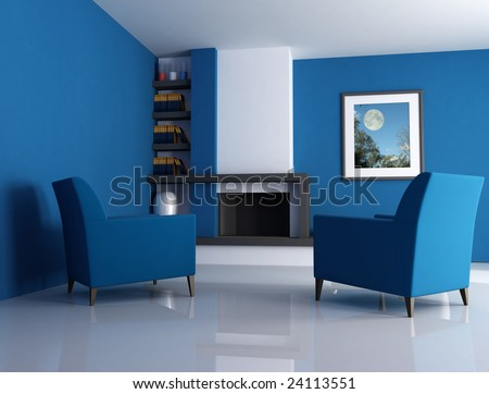 Modern fireplace ina blue living room with picture in the wall - digital artwork. The picture art on wall is a my photo. - stock photo