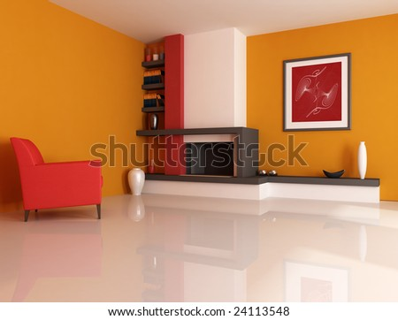 Modern fireplace ina orange living room with picture in the wall - digital artwork. The picture art on wall is a my photo. - stock photo
